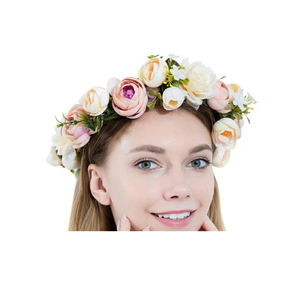 Artificial Flowers Bridal Headbands for Bachelorette Party Wedding Halloween Christmas Festival Party Photo Props Flower Headband Wreath Crown Floral Wedding Garland BLOSSOM Flower Crown Flower Girl for Women