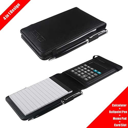 PLENTY Deluxe Leather Pocket Notebook Cover Jotter Organizer Memo Pad Holder with Calculator, 50 Pages Note Paper, Pen and Business Card Slot - Personalized Jotter