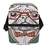 SCOCICI Collapsible Cooler Bag Vintage Illustration of Old Hipster Pug Dog with Red