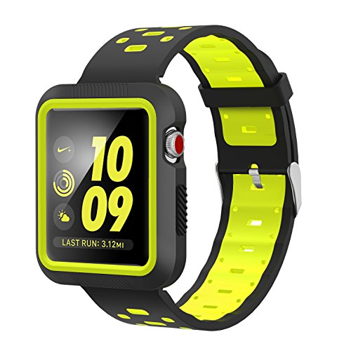 EloBeth Compatible Apple Watch Band 42mm with Case, Shock-Resistant Protective Case Soft Silicone Sport Strap iWatch Band for Apple Watch Band Series 3/2/1 Nike+ Sport Edition(Black/Yellow, 42mm)