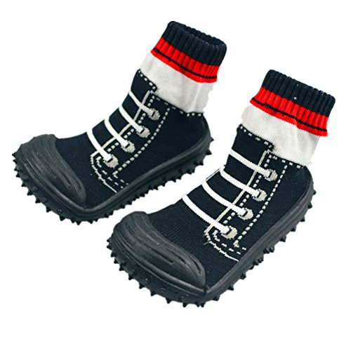 Anti-slip Floor Socks Boots Floral Baby Socks With Rubber Soles For Children Cotton Shoes (About 11 cm, (Anti Slip Floor)
