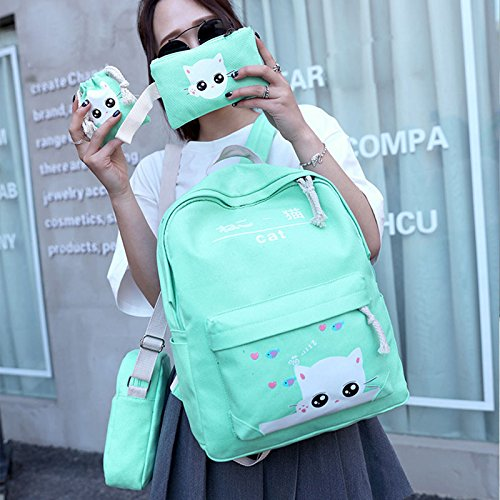 Amazon.com: Adealink 4 Pcs/Set Fashion Korean Women Backpack Canvas Lovely Cartoon Cat Printed Shoulder Bags Pencil Case Lady Girl School Bag: Toys & Games