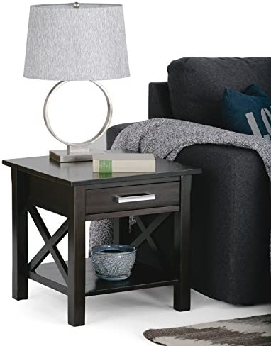SIMPLIHOME Kitchener SOLID WOOD 21 inch wide Square Contemporary End Side Table