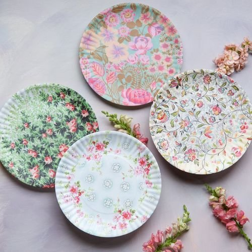 Paris Flea Market Fabrics 11'' Melamine Plates - Set of Four by 180 Degrees