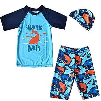 ZDUND Boys Two Piece Rash Guard Swimsuits Toddler Kids Boys Long Sleeve Bathing Suit Swimwear Sets - Blue - Tag:2XL/8-9 Years