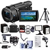 Sony FDR-AX53 4K Ultra HD Handycam Camcorder - Bundle with Video Bag, 64GB SDXC U3 Card, 55mm Filter Kit, 2x Spare Batteries, Video Light, Cleaning Kit, Tripod, Shotgun Mic Triple Shoe V-Bracket, More