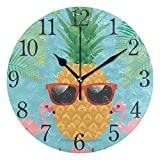 Wall Clock Pineapple Flamingos Silent Non Ticking Operated Round Easy to Read Home Office School Clock