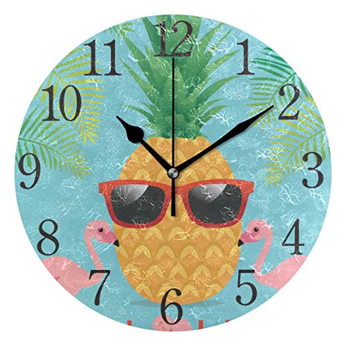 (Wall Clock Pineapple Flamingos Silent Non Ticking Operated Round Easy to Read Home Office School Clock)