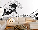 Japanese Hokusai Great Wave Wall Decal Sticker by Stickerbrand (Black color) 96in X 151in. - Easy to Apply / Removable. Made in the USA. No Glue Needed. Safer than wallpaper. Black color #363-96x151