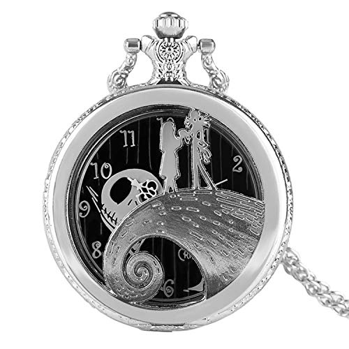 CHITOP The Nightmare Before Christmas- Jack Skellington Tim Burton Movie Kid Toys Watches -Fashion Black Quarzt Pocket Watch Gifts Item (Silver) ()