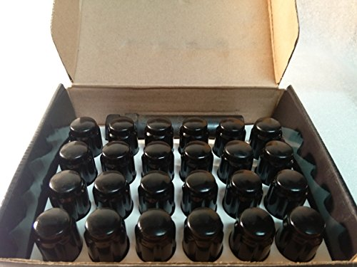 "AccuWheel LNS-12000B6 Small Diameter Acorn Spline Drive Black Lug Nuts with Key (1/2""-20 Thread Size) - Pack of 24 Lugnuts"