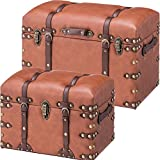 AZUMAYA IW-276, (Small and Large) 2PCS Set Storage Boxes Stool Brown Synthetic Leather Finish