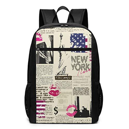 DerdYoaa Backpack United States Newspaper Lipstick Vintage Teen Girls Boys Backpacks School Kids Bookbag Children Travel Shoulder Bag Casual Daypack Plus Laptop Bag for Women Men