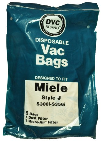 Miele Style J Vacuum Cleaner Bags, DVC Replacement Brand, designed to fit Miele S227-S240i/S269i-S282i Canister Vacuum Cleaners using Style J bags, 5 bags, 1 dust filter, 1 microfilter in pack