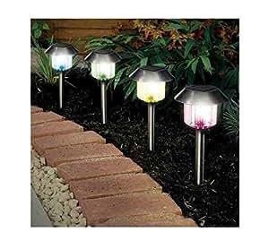 Producto nuevo 4cambia de color funciona con energía solar de acero inoxidable jardín luces lámparas