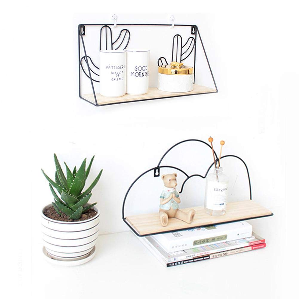 miraculocy Wall Shelf Nordic Cactus Dormitory Free Punching College Wall Hanging Storage Artifact Living Room Decoration
