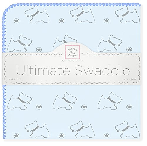 SwaddleDesigns Ultimate Swaddle, X-Large Receiving Blanket, Made in USA Premium Cotton Flannel, Gray Doggie with Blue Trim (Mom's Choice Award Winner)