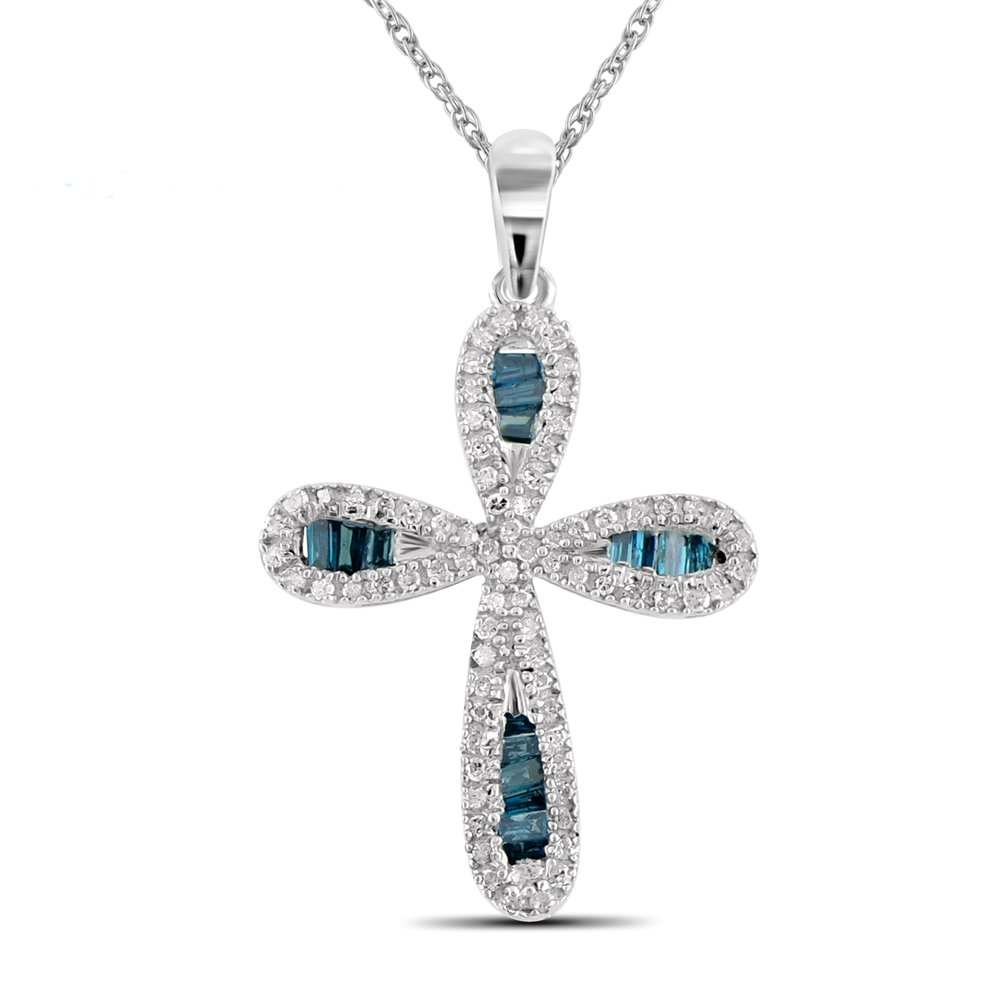 1/2 Carat T.W. Blue And White Diamond Sterling Silver Cross Pendant