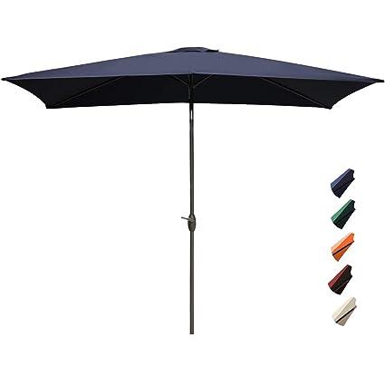 RUBEDER Rectangular Patio Umbrella   6.6 By 10 Ft Outdoor Market Table  Umbrellas With Push Button
