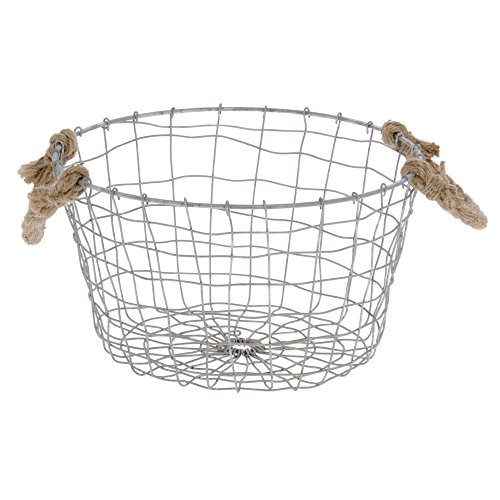 (Wire Basket with Rope Handles Silver - 10