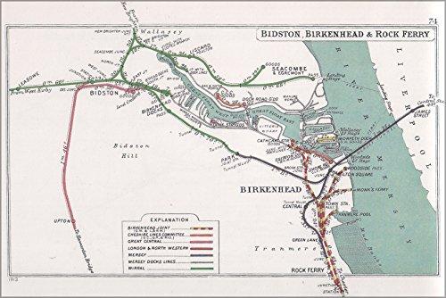 24x36 Poster; Railway Junctions In Bidston, Birkenhead & Rock Ferry Pre Grouping - Birkenhead Stores