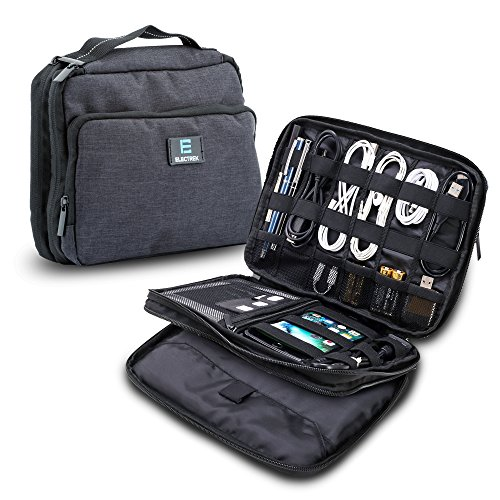 ElecTrek Products Cable Organizer Bag- Water-resistant bag organizes and protects USB drives, memory cards, chargers, cables, cords, adaptors and other device accessories. by ElecTrek Products, LLC