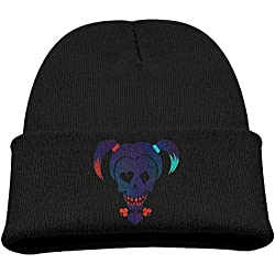 Babala Suicide Squad Harley Quinn Children Knitted Beanie Cap Hat Winter Skullcap Top Hat Black