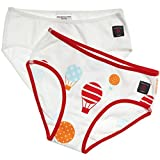 POLARN O. PYRET 2-PACK SOLID & BALLOON PRINT GIRL'S ECO BRIEFS - 2-4 years/Sun Orange