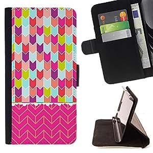 "For Motorola Moto E ( 1st Generation ),S-type Chevron del rosa del arte del trullo púrpura verde"" - Dibujo PU billetera de cuero Funda Case Caso de la piel de la bolsa protectora"