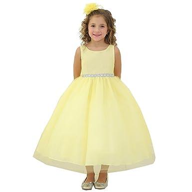 52813f19d Amazon.com  Calla Collection Little Girls Yellow Rhinestone Tulle ...
