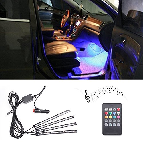 Dragon-Hub Car Interior Lights Increase Romantic Atmosphere with 4 Strips LED Colors Changing Follow Music Rhythm Remote Control,Car Accessories DIY Powered by 12 V Car Cigarette Lighter/ Truck SUV