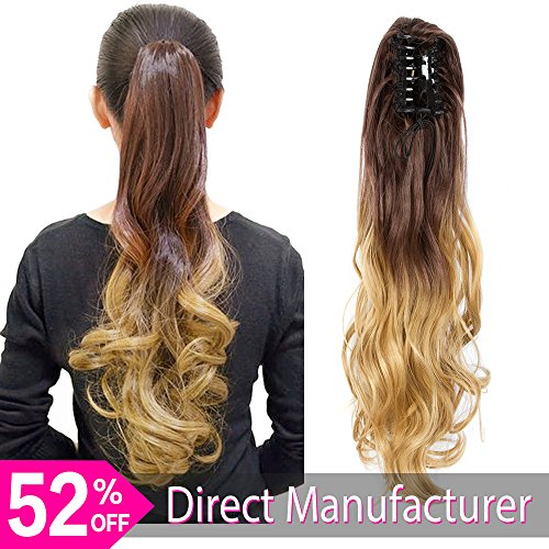 Ayana Synthetic Claw Ponytail Yaki Straight Ombre Two Tone Long Big Wavy Claw Curly Ponytail Clip in Hair Extensions (24'', (Two Tone Drawstring)