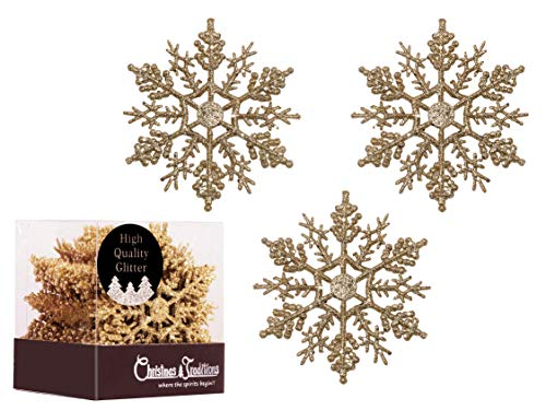 Christmas Traditions 4 inch Gold Glittered Snowflake (Set of 28) Ornaments Hanging Tree Decorations