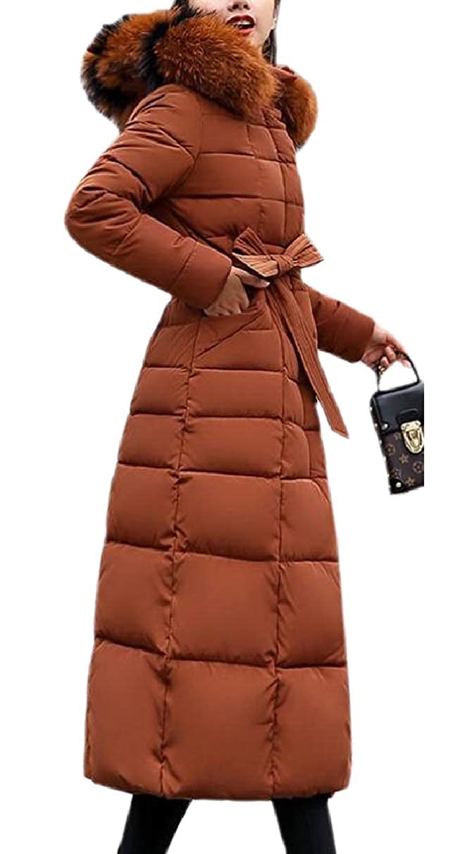 1 LEISHOP Women's Winter Faux Fur Hooded Puffer Mid Long Padded Parkas Coat