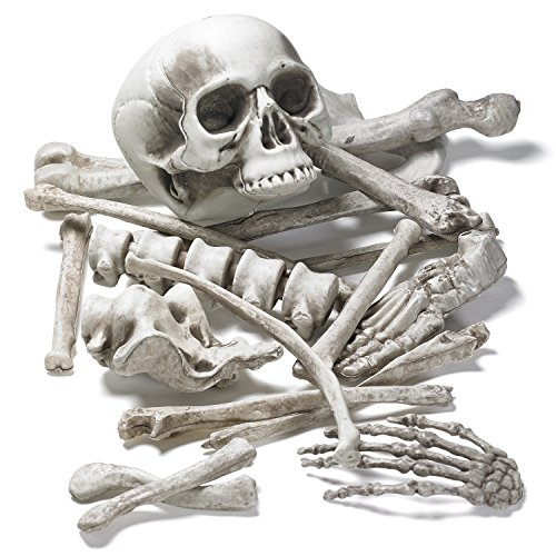 Prextex Bag of Skeleton Bones and Skull for Best Halloween Decoration and Spookiest Graveyard Scene]()