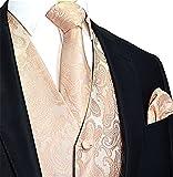 Brand Q Men's 3pc Paisley Vest Set-Peach-2XL