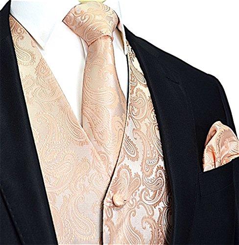 Men's 3pc Paisley Vest Set-Peach-L ()