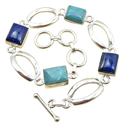 "925 Sterling Silver Plated LARIMAR & LAPIS LAZULI Gemstone Bracelet 8"" Online Jewelry Store"