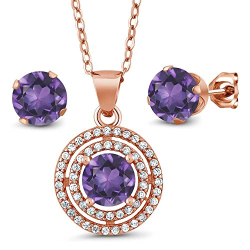 Gem Stone King 2.89 Ct Round Purple Amethyst 925 Rose Gold Plated Silver Pendant Earrings Set