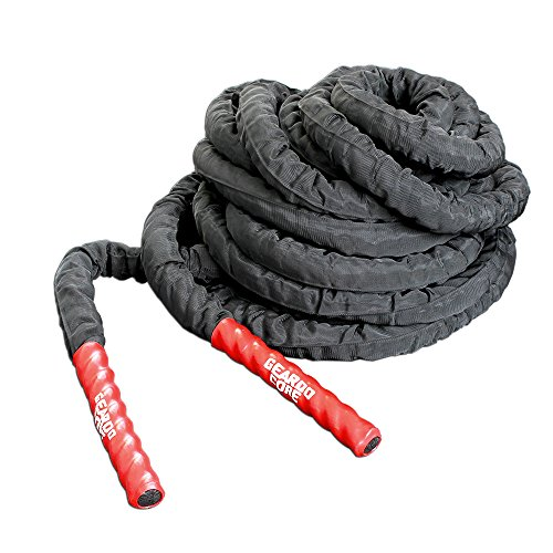 GEARDO Battle Rope – 1.5 Inches Width Poly Dacron 30 40 50 Feet Length Exercise Undulation Ropes – Gym Muscle Toning Metabolic Workout Fitness – Battle Rope Anchor Included