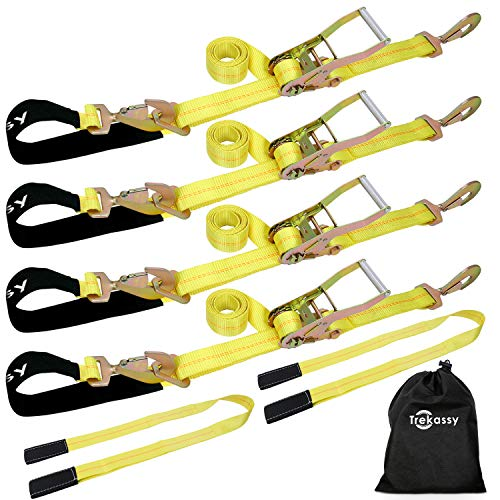 "Trekassy 4 Pack 2"" x 114"" Car Axle Straps Ratchet Tie Downs System with Snap Hooks, 2 Free Lift Sling Straps, 3,333lbs Safe Working Load"