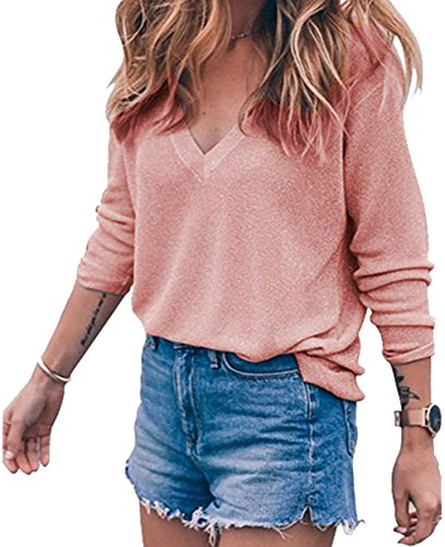 BLINGLAND Womens Loose V-Neck Pullover T Shirt Knit Tops Pink (Pink Womens Pullover)