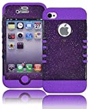 Bastex Heavy Duty Hybrid Case for Apple iphone 4, 4g, 4s 4gs - Neon Purple Silicone Cover / Silver Glitter Effect Transparent Gray Hard Shell