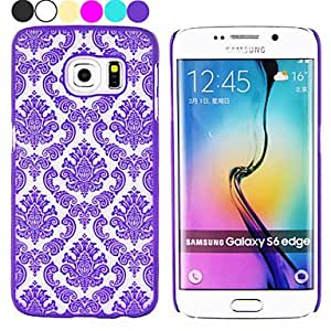 QJM 20150511 Damask Vintage Flower Pattern Hard Case for Samsung Galaxy S6 Edge(Assorted Colors) , Black