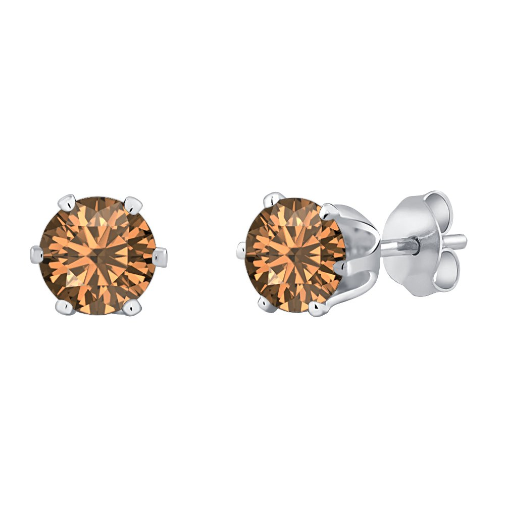 tusakha 6 Prongs Solitaire 6mm Round Cut Created Smoky Quartz Stud Earrings For Womens /& Girls