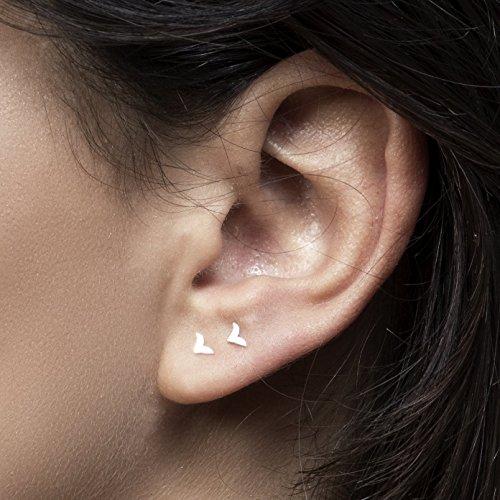 Tiny Earring Set, Silver Stud earrings, Small Bird Post Earring, 925 Sterling Silver Studs, Unique Silver Earrings, Handmade Designer ()
