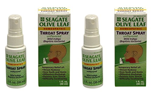(Seagate Products Homeopathic Olive Leaf Throat Spray 1 ounce Unflavored 2pack)