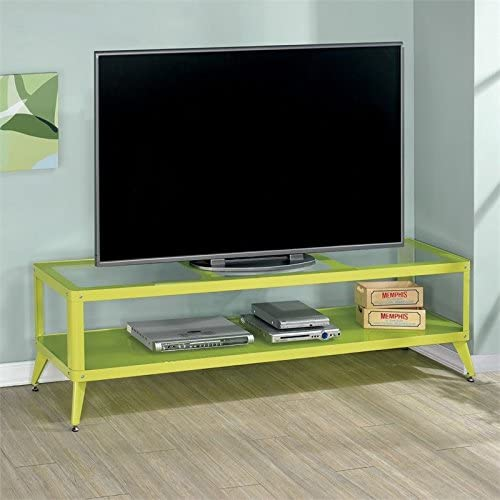 Furniture of America Elton Modern Metal 72-inch TV Stand in Apple Green
