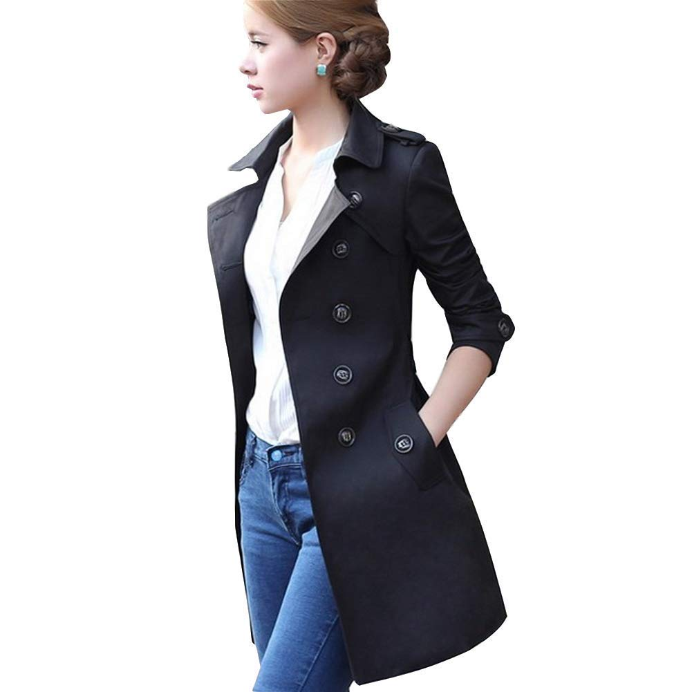 QZHIHE Womens Double Breasted Trench Coat Lapel Jacket Side Pockets Slim Spring Fall Overcoat with Belt