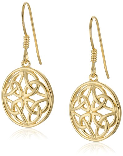 - 18k Yellow Gold Plated Sterling Silver Celtic Knot Round Drop Earrings